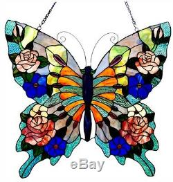 Tiffany Style Butterfly Stained Glass Window Panel 22 x 24 LAST ONE THIS PRICE