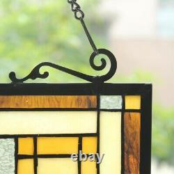 Tiffany-Style Geometric Stained Glass Window Panel 24 T x 18 W Arts & Crafts