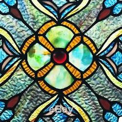 Tiffany Style Handcrafted Stained Glass 12 Diameter Round Window Panel