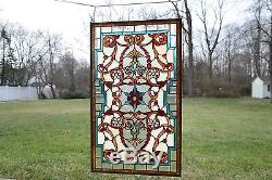 Tiffany Style Jeweled Beveled stained glass window panel. 20.5W x 34.75H