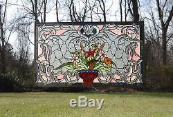 Tiffany Style Jeweled Beveled stained glass window panel Flower 34.75L x 20.7H
