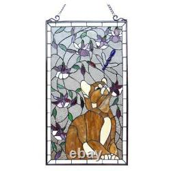 Tiffany Style Kitten Cat and Dragonfly Design Stained Glass Window Panel 31Hx18W