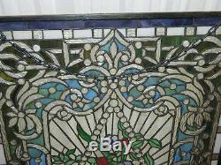 Tiffany Style Leaded Stained Glass Window Panel Hanging Floral Basket 36 x 24