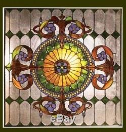 Tiffany Style Matching PAIR Stained Cut Glass Window Panels Great Colors