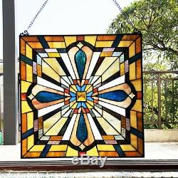 Tiffany-Style Mission Stained Glass Window Panel 20 H H x 20 W Suncatcher