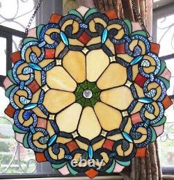 Tiffany Style Stained Glass 18in Diameter Round Window Panel Suncatcher