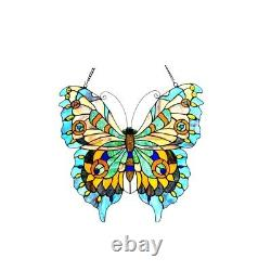 Tiffany Style Stained Glass Butterfly Window Panel Handcrafted ONE THIS PRICE