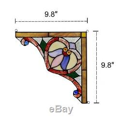 Tiffany Style Stained Glass Corner Window Panels 10 Wide Handcrafted PAIR