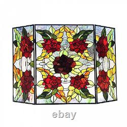Tiffany Style Stained Glass Floral 3-panel Fireplace Screen 26in H x 40in W