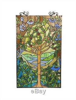 Tiffany Style Stained Glass Glass Window Panel Tree of Hope 20 W x 32 T