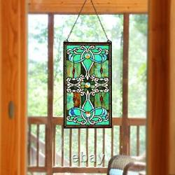 Tiffany Style Stained Glass Green 26 Window Panel Suncatcher 15in X 26in