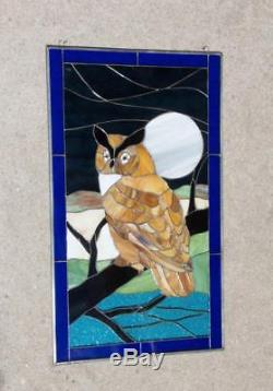 Tiffany Style Stained Glass Hanging Sun Catcher Window Panel Owl Bird Decor Art