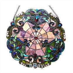 Tiffany Style Stained Glass Round Window Panel Handcrafted LAST ONE THIS PRICE