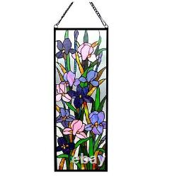 Tiffany Style Stained Glass Window Panel 11.5 X 31.5 Handcrafted Iris Floral