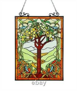 Tiffany Style Stained Glass Window Panel 18 W x 25 T Handcrafted Tree of Life