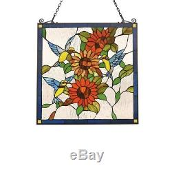 Tiffany Style Stained Glass Window Panel 24.8 Wide x 26 Tall Hummingbirds