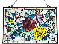 Tiffany Style Stained Glass Window Panel 27 x 19 Extremely Detailed Floral