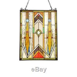 Tiffany Style Stained Glass Window Panel Arts & Crafts Handcrafted 17.7 x 24