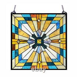 Tiffany Style Stained Glass Window Panel Arts & Crafts Mission 20 x 20