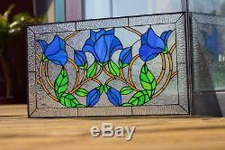 Tiffany Style Stained Glass Window Panel Blue Flowers Knightshayes Royal Garden
