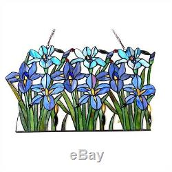 Tiffany Style Stained Glass Window Panel Handcrafted Colorful Iris Floral Design