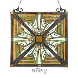 Tiffany Style Stained Glass Window Panel Mission Arts & Crafts 24.4 x 25.6