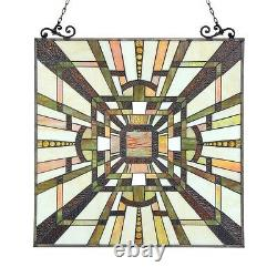 Tiffany Style Stained Glass Window Panel Mission Arts & Crafts 24.5 x 26