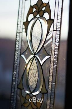 Tiffany Style Stained Glass Window Panel RV Iridescent Beveled Infinity Knot HNY