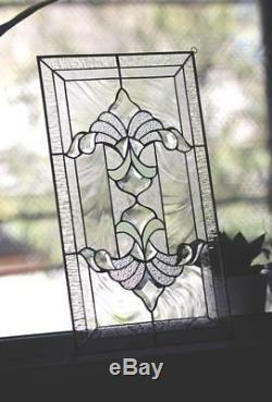 Tiffany Style Stained Glass Window Panel RV Iridescent Beveled VICTORIAN SWIRLS