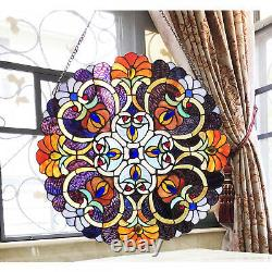 Tiffany Style Stained Glass Window Panel Suncatcher Yellow, Red, Blue, and Green