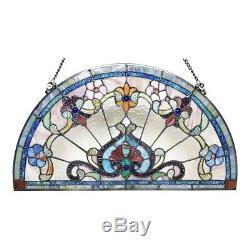 Tiffany Style Victorian Stained Glass Window Panel 24 Half Circle Handcrafted