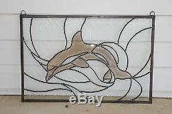 Tiffany Style stained glass Clear Beveled Dolphin window panel, 24.25 x 16.5