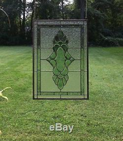 Tiffany Style stained glass Green & Clear Beveled window panel 19 x 27
