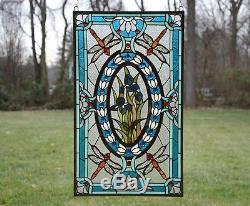 Tiffany Style stained glass window panel Dragonfly Iris Flowers, 20.5 x 34.75