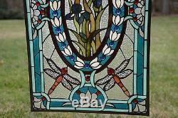 Tiffany Style stained glass window panel Dragonfly & Iris Flowers, 20.5 x 34.75