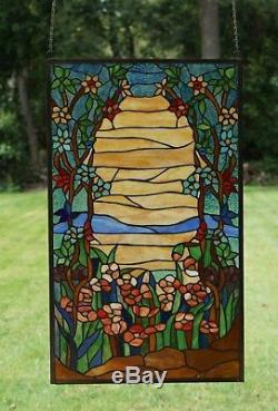 Tiffany Style stained glass window panel Orange Dawn in Valley