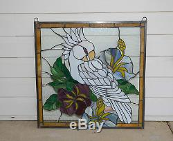 Tiffany Style stained glass window panel Parrot White Cockatoo Bird Flower 24x24