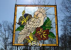 Tiffany Style stained glass window panel Parrot With Flowers 24.75 x 24.75