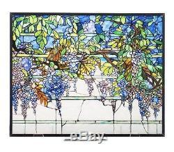 Tiffany Wisteria Tabletop or Window Stained Art Glass Panel 14 x 11.36 NIB