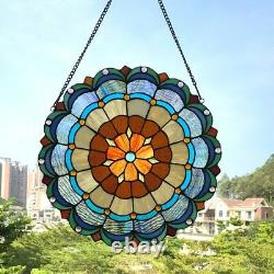 Tiffany-style Stained Glass Window Panel Multi Colors Round 18 Diameter