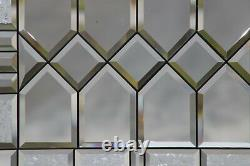 Traditional Clear and Beveled Stained Glass Window Panel, Hanging 21 1/2 x 17