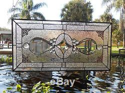 Traditional Vintage Look Bevel & Stained Glass Panel, Antique Home Decor Window