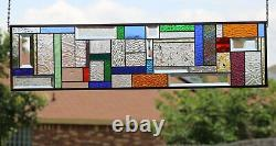 Transom, Sidelight 36 5/8 x 9 3/4 -Stained Glass Panel Color Attraction