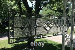 Transom Stained Glass Window Panel withBevels Clear Glass Textures, approx. 24 x 7