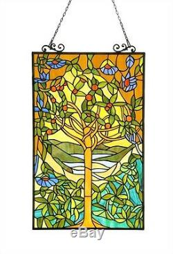 Tree of Life Tiffany Style Stained Cut Glass Window Panel 20 Wide x 32 Tall