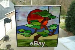 Tree of Life at Sunset Stained Glass Window Panel
