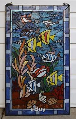 Tropical Fish under the Sea Tiffany Style stained glass window panel