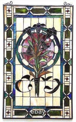 Tulip Design Tiffany Style Stained Glass Window Panel 20 x 32 ONE THIS PRICE