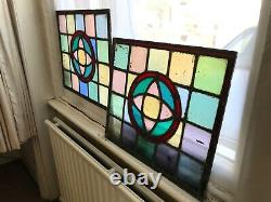Two Matching Stained Glass Period Leaded Panels 40X47cm each