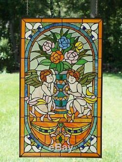 Two baby angel Tiffany Style stained glass Jeweled window panel, 20 x 34